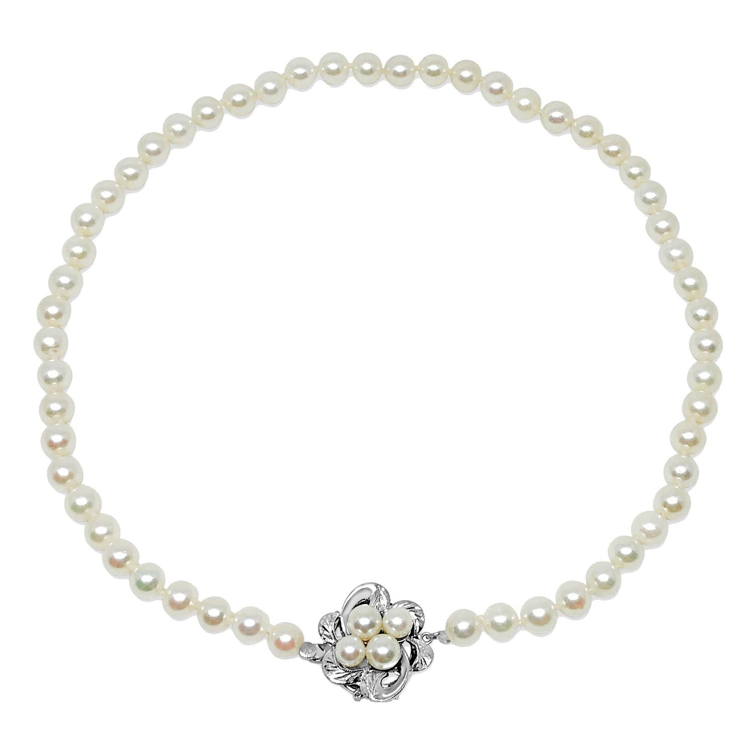 Mid Century Floral Japanese Saltwater Cultured Akoya Pearl Strand - Silver Vintage