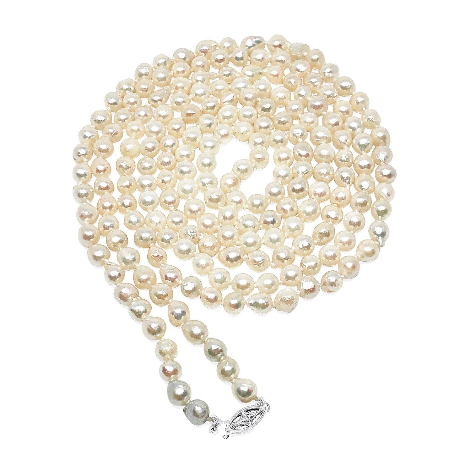 Rope Length Japanese Saltwater Cultured Akoya Pearl Strand - Diamond 14K White Gold