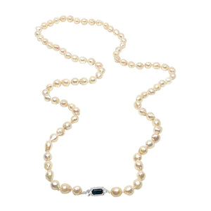 Art Deco Cultured Akoya Pearl Strand - 14K White Gold & Sapphire Paste