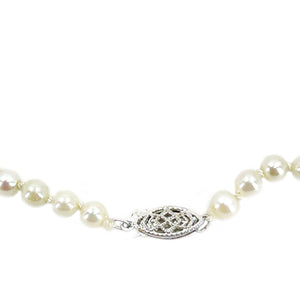Filigree Retro Japanese Saltwater Cultured Akoya Pearl Necklace - 10K White Gold 18 Inch