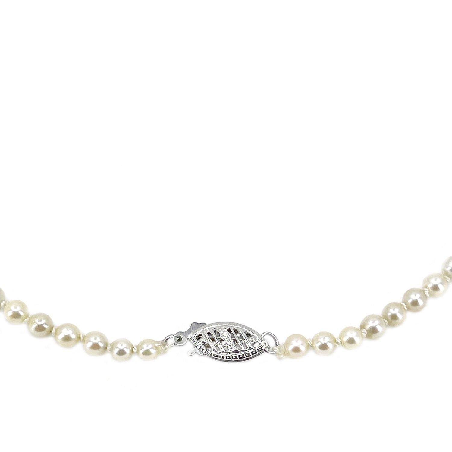 Retro Graduated Japanese Saltwater Cultured Akoya Pearl Filigree Necklace - 14K White Gold 20.25 Inch