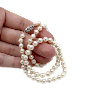 Retro Rosy Japanese Saltwater Cultured Akoya Pearl Necklace - 14K White Gold 19.50 Inch