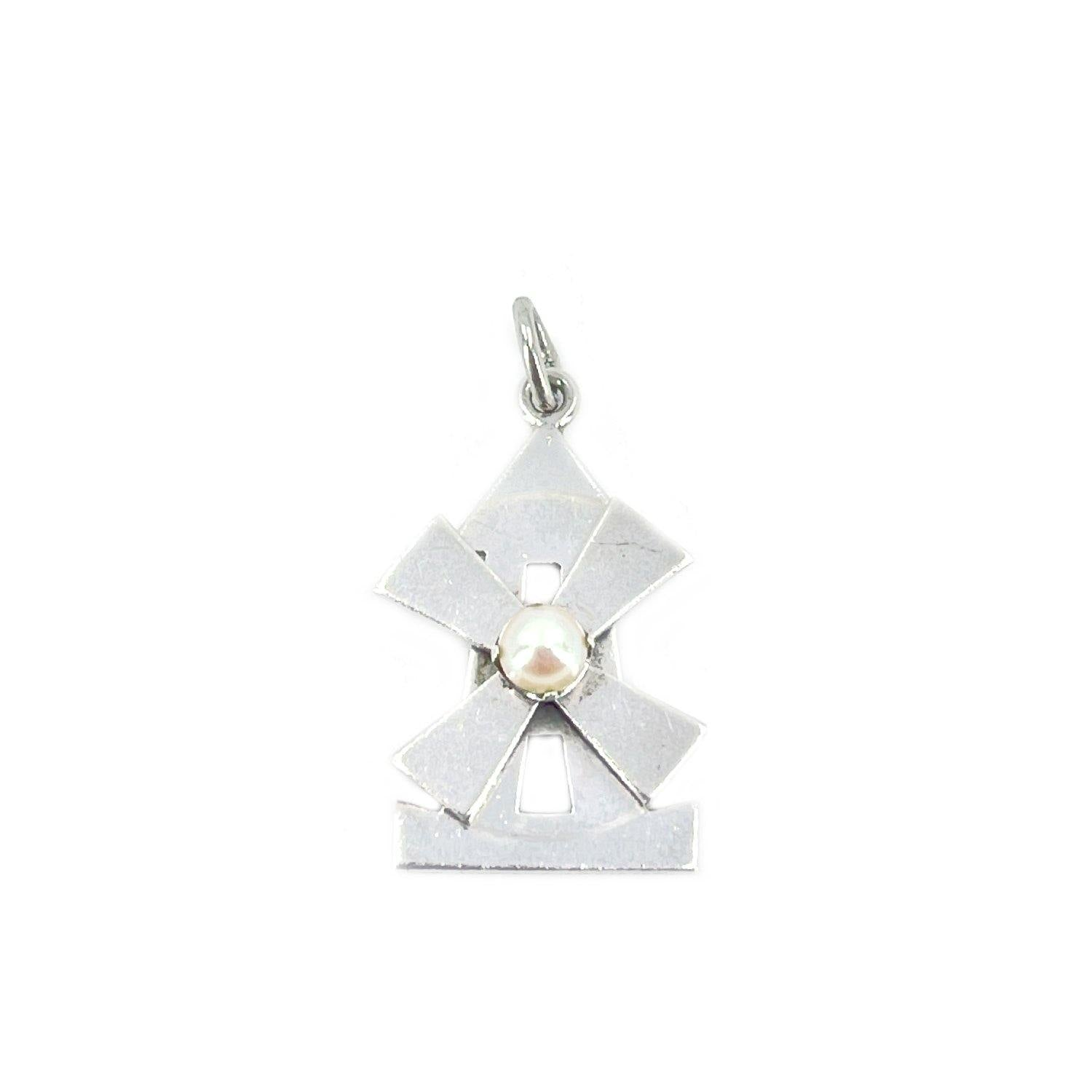 Windmill Japanese Saltwater Cultured Akoya Pearl Pendant Charm- Sterling Silver