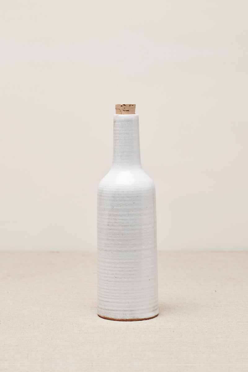 Narti Ceramic Bottle - Brushed White