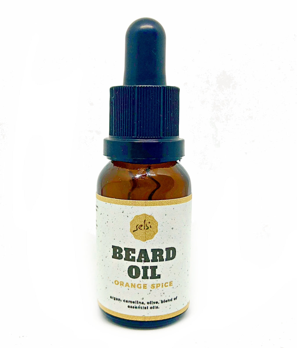 Hand made natural beard oil, lightly scented with orange and spice essential oils. Made by Selsi in Toronto.
