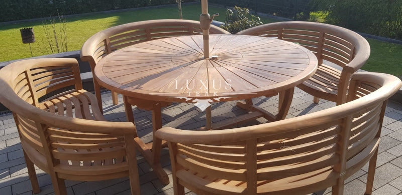 180 cm Round Sunshine Set  (4 San Francisco Benches)  Complete set Cushions & Parasol included. Free Delivery. - Luxus Teak