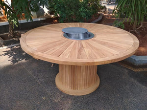 Deluxe 180 cm Round Sunshine Drum Table (Ice Bucket Table Centre) - Luxus Teak