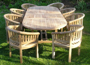 Oval 180 - 240 cm Extending Table  (8 San Francisco Chairs) Complete set Cushions & Parasol included. Free Delivery. - Luxus Teak