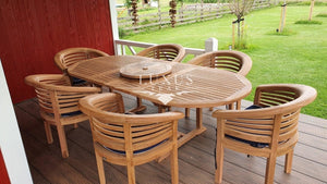 Oval 180 - 240 cm Extending Table  (6 Deluxe San Francisco Chairs) Cushions & Parasol included. Free Delivery. - Luxus Teak
