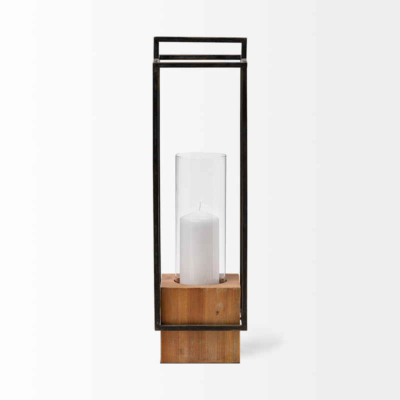 68652 ORIONIS II LARGE BLACK METAL/WOOD HOLDER