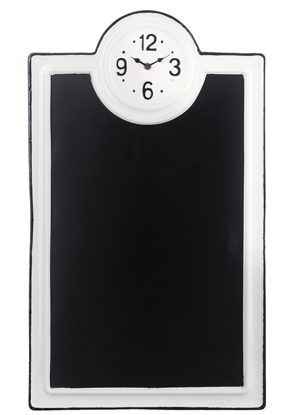 BLACK & WHITE ENAMEL CHALKBOARD CLOCK