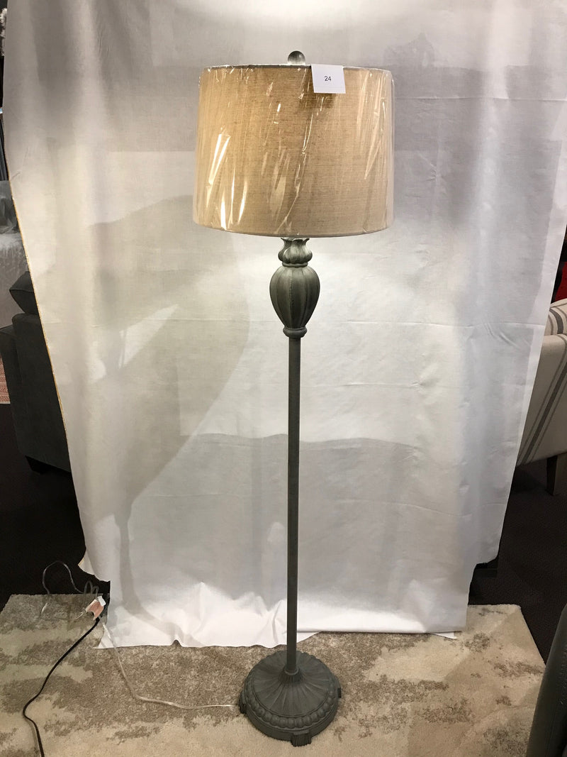 CHARCOAL GREY RIBBED IRON FLOOR LAMP