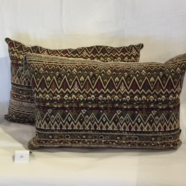 ACCENT CUSHION EMBROIDERED ZIG ZAG PLUM - Kate & Co. Home
