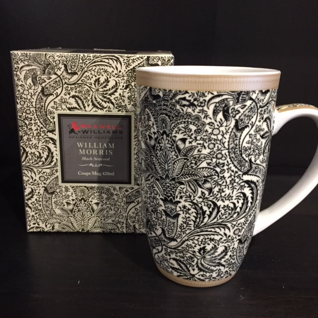 WILLIAM MORRIS PORCELAIN MUG- BLACK SEAWEED