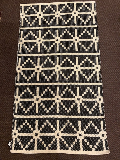 BLACK & NATURAL GEOMETRIC RAG RUG