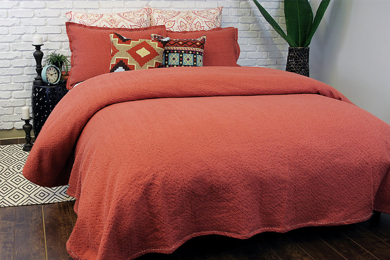 MALLOW COVERLET RUST - Kate & Co. Home