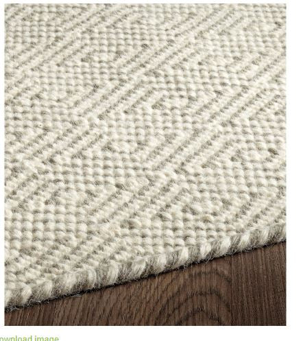 CHICAGO FLAT WEAVE REVERSIBLE WOOL RUG IVORY SILVER GREY - Kate & Co. Home