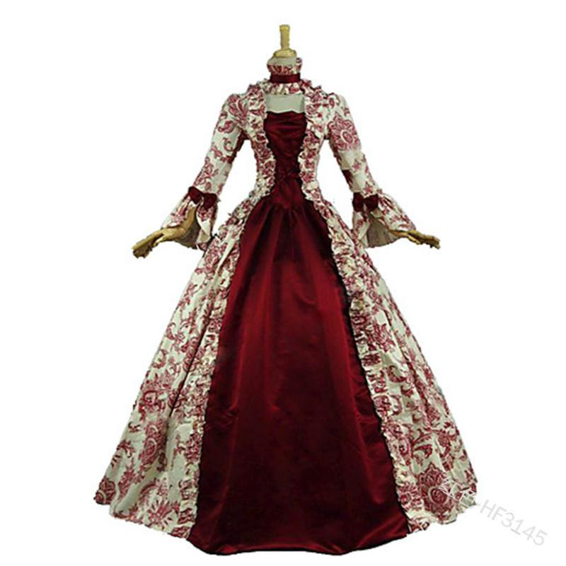 Cosplay Medieval Renaissance Gown Robe Palace Princess Dress Adults Vintage Evening Gown Lace Long Party Halloween Costume