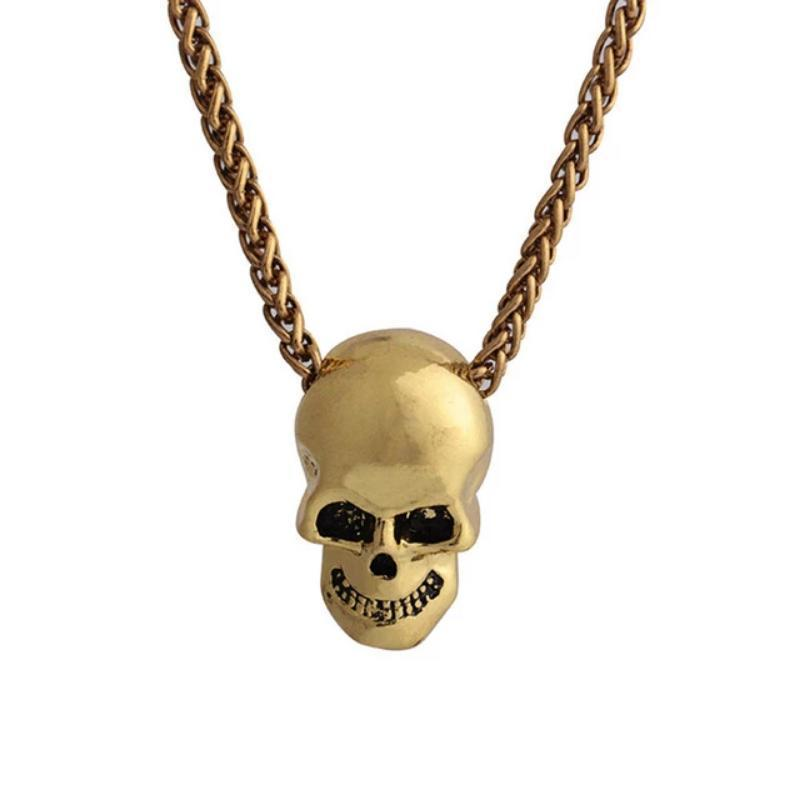 Halloween Punk Gothic Skull Head Pendant Necklace