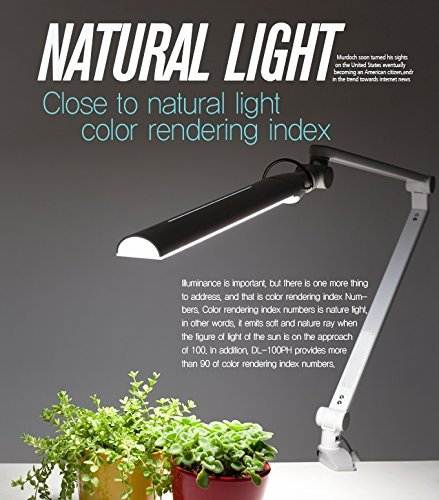 Softech - Natural Ultra Bright Light LED Lamp with Clamp type-swiveling Head, 3-Lighting Modes, 5-Level Dimmer, Touch-Sensitive Control Panel, USB Charging Port 5V/2A, Mobile Device Charger