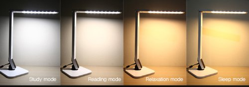 Softech - Natural Light Smart LED Lamp -Tilting Head, 4 Lighting Modes, 5-Level Dimmer, Touch-Sensitive Control Panel, 1-Hour Auto Timer, USB Charging Port 5V/1.5A, Mobile Device Charger