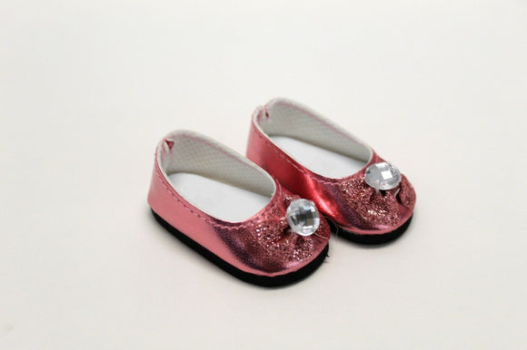 """Red Ballet Flats Shoes with Bow For 14.5/"""" Wellie Wishers American Girl Doll"""