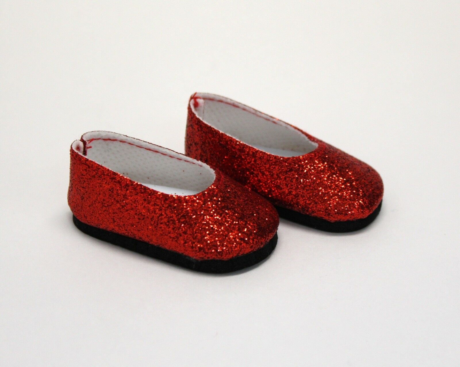 Dress-shoes-for-Wellie-Wisher-14-5-034-Dolls-Red-Silver-Glitter-Dress-Shoes thumbnail 4