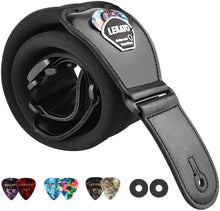 Load image into Gallery viewer, Lekato Adjustable Electric Guitar Strap Bass Belt 3 inch Wide, with 6 picks
