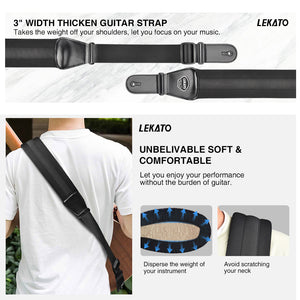 Lekato Adjustable Electric Guitar Strap Bass Belt 3 inch Wide, with 6 picks