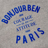 BONJOUR BEN courage is an attitude  Sweater - grey I bleu