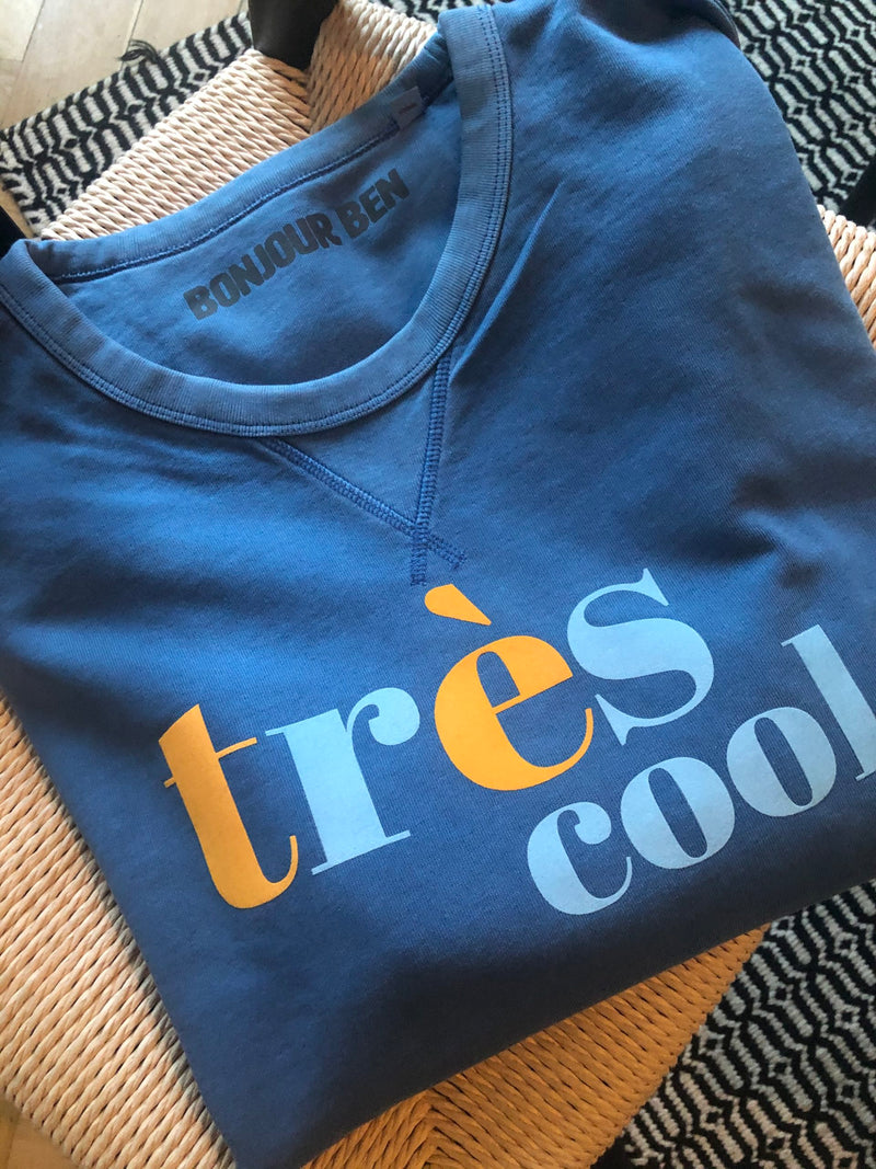BONJOUR BEN très cool sweater - vintage Blue I yellow