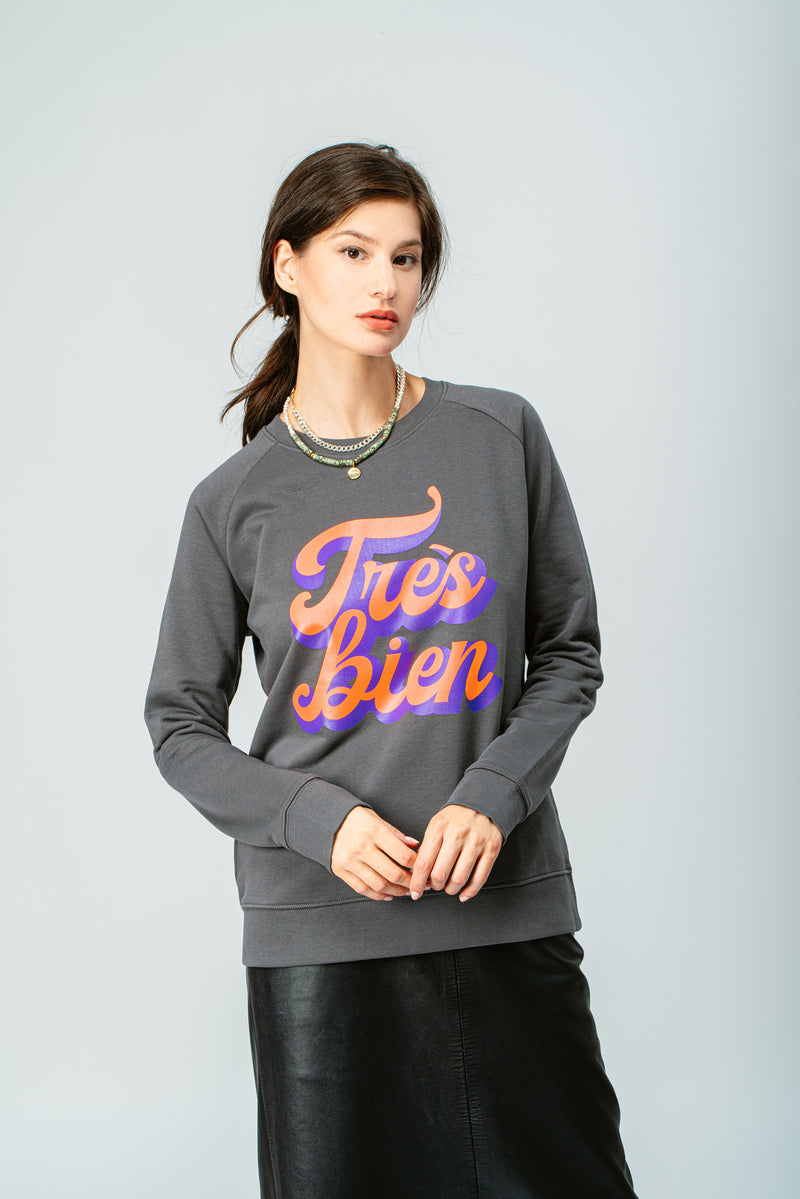 BONJOUR BEN très bien SWEATER - anthracite I neon orange | purple