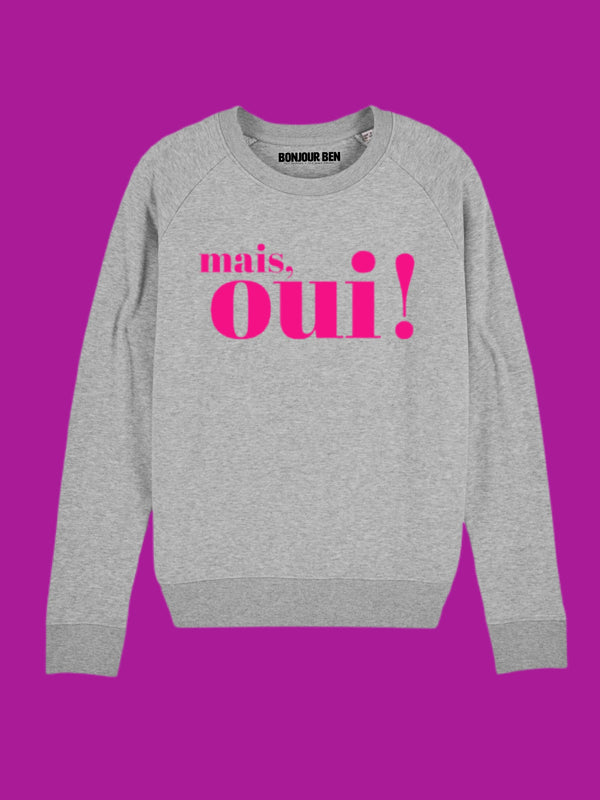 BONJOUR BEN mais, oui!  - Sweater - cosy grey I neon pink