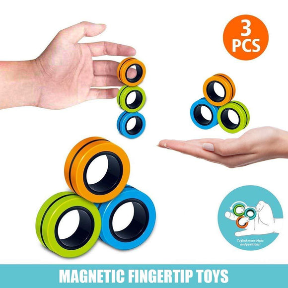3pcs Magnetic Ring, Magnetic Finger Tip Toys, Finger Game