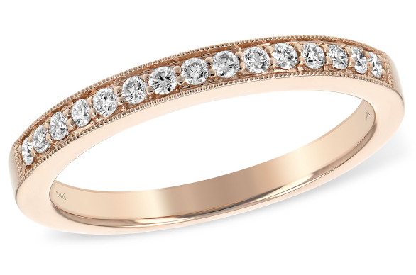 14 Kt Rose Gold Stackable Diamond Band Gysbers Jewelry