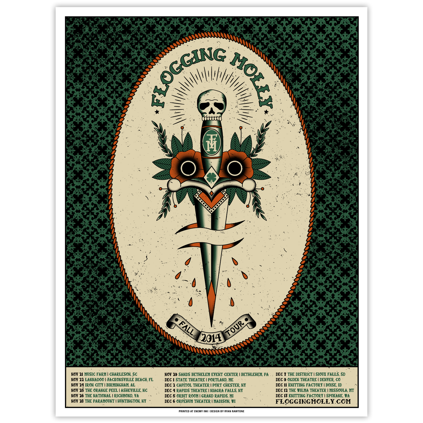 Flogging Molly - 2014 Fall Tour Poster