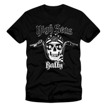Load image into Gallery viewer, High Seas Rally - Skull and Bars T-Shirt (Black and White)