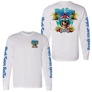 High Seas Rally - Skull and Bars Longsleeve Shirt - White