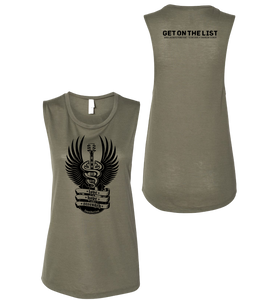 Love Hope Strength - Get on the List sleeveless tank (Ladies) Army Green