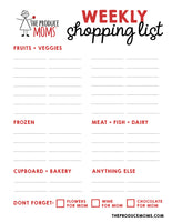 FREE Downloadable Weekly Shopping List