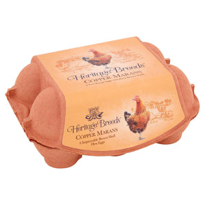 Heritage Copper Marans 6 Free Range Eggs With Deep Brown Shells
