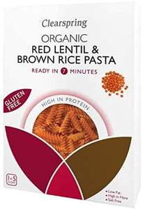 Clearspring Organic Gluten Free Red Lentil & Brown Rice Fusilli Pasta 250g