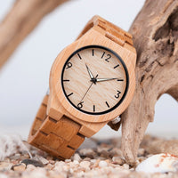 BOBO BIRD Men Watch Wooden Bamboo Quartz Men Watches with Luminous Hands with Full Bamboo Band in Gift Box Timepieces