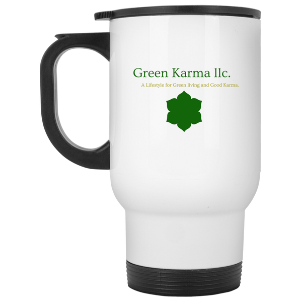 White Travel Mug-By Green Karma