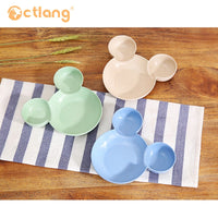 Pet Single Mickey Shape Wheat straw Safety  Edible Round Bowl Easy Cleaning Pet Bowl For Dog and Cat Plastic Safe Pet Feeder