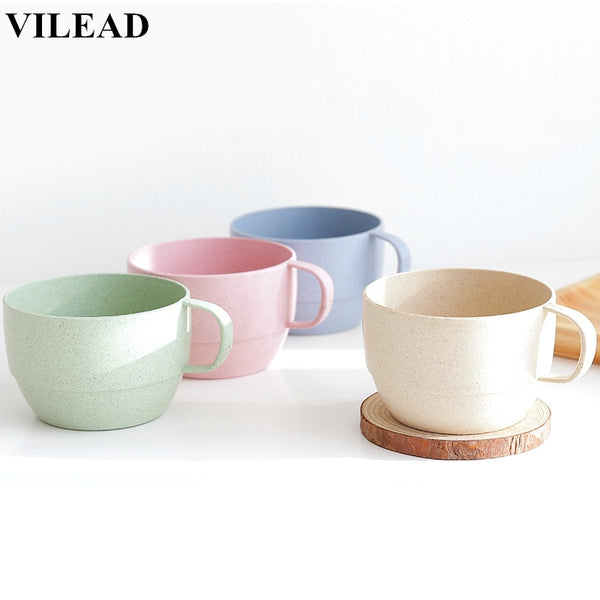 VILEAD Brief Wheat Straw Coffee Mug Continental Portable Travel Milk Cup Breakfast Tea Cup Environmental Drinking Water Cup