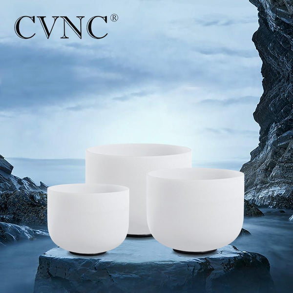 "CVNC  6"" 8"" 10"" Frosted Quartz Crystal Singing Bowl Chakra Set 3pcs"
