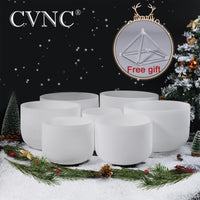 7PCS Chakra Frosted Quartz Crystal Singing Bowls