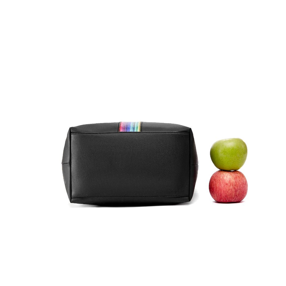 Apple Cider – Lady Formal Tote Bag with Rainbow Stripy Pattern