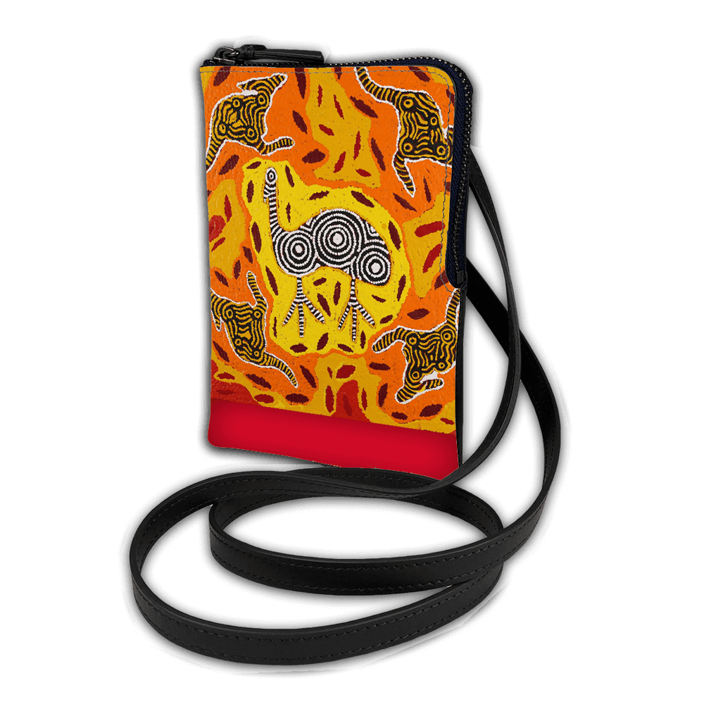 Cross body Phone Pouch - Yankirri Jukurrpa (Emu Dreaming)